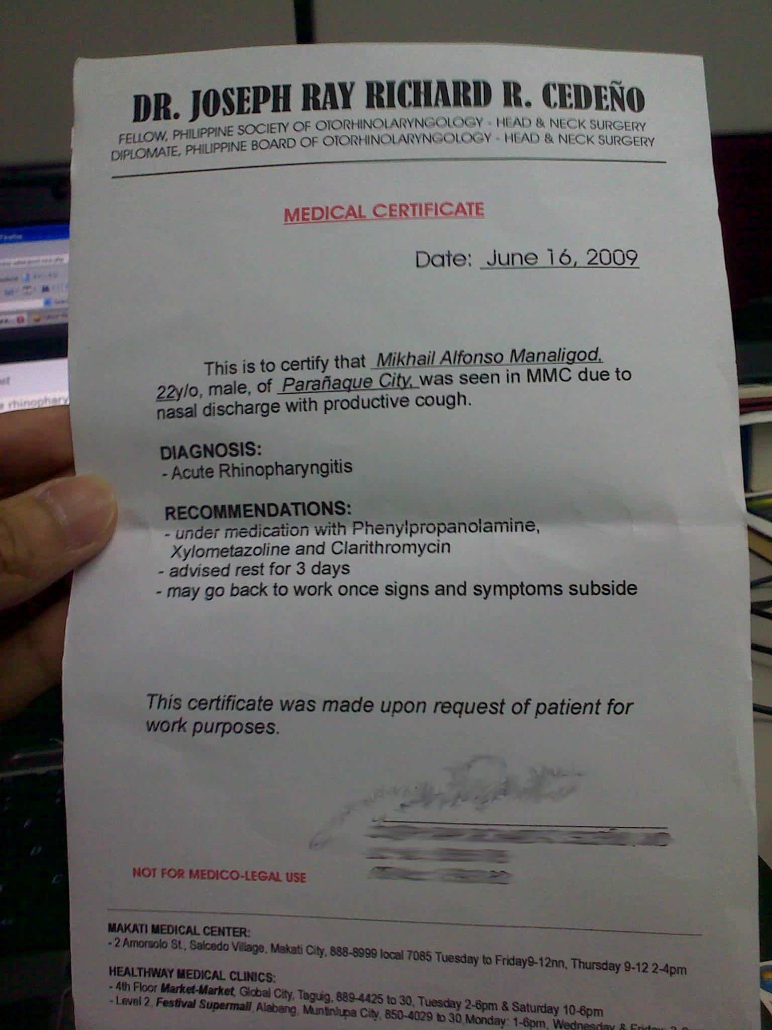medical certificate of sickness